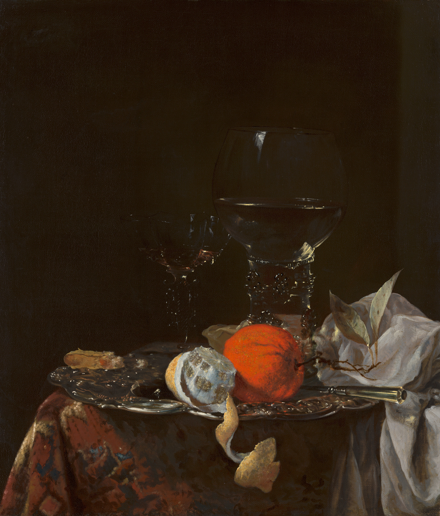 Still Life with Fruit and Wineglasses on a Silver Plate