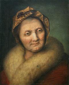 Tête de vieille femme au bonnet et au col de fourrure