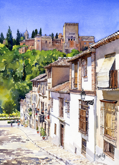 The Alhambra from Calle Victoria, Granada, Spain