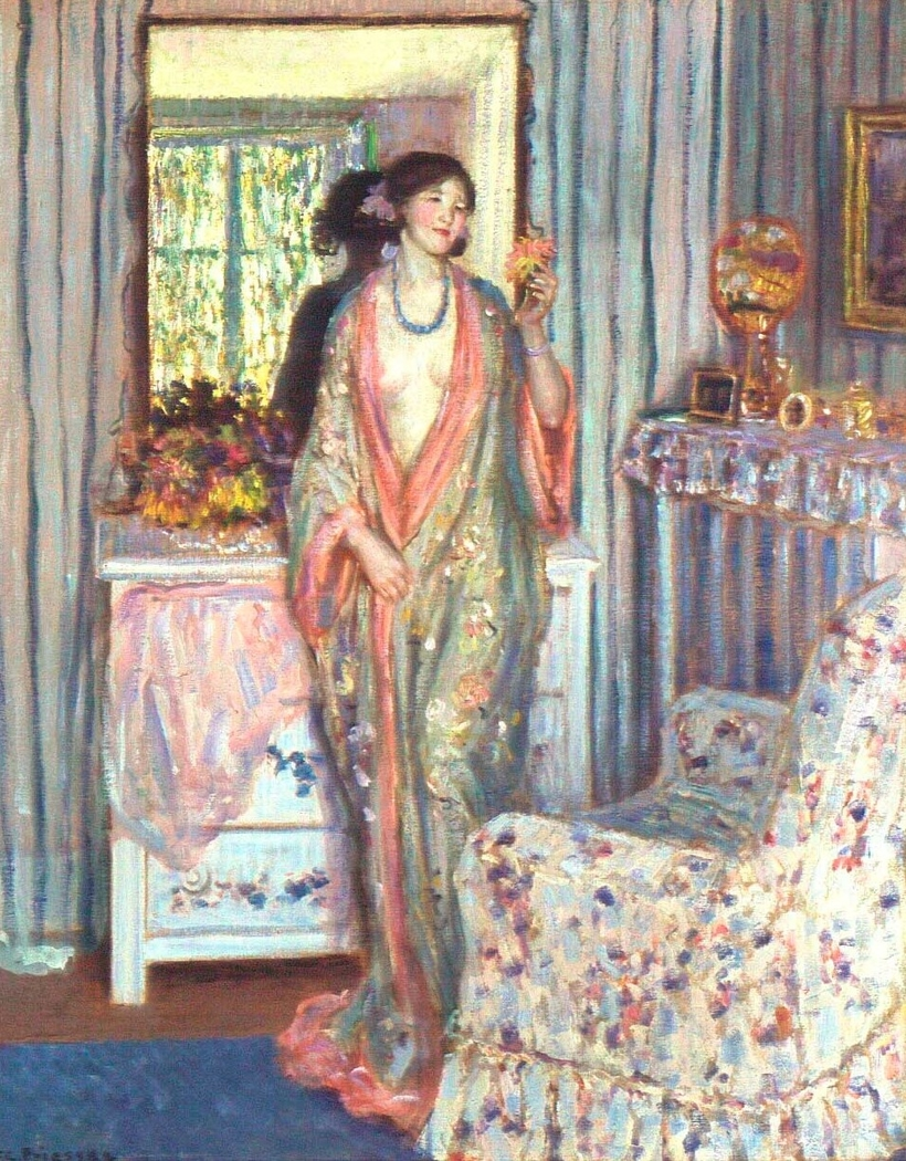 homewear outfits in art Friedrich Carl Frieseke, The Robe, 1915, Indianopolis museum of Art, Indianopolis, USA At the end of 19th century Japanese kimono became a must-have thing of homewear outfits.
