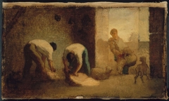 Three Men Shearing Sheep in a Barn