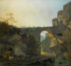 Travellers on a bridge