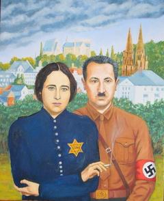 'Two German Philosophers in love', (2010), Oil on linen.110 x 90 cm.