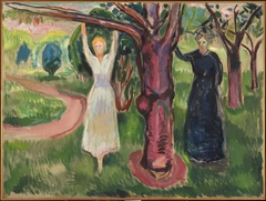 Two Women under the Tree in the Garden