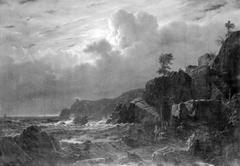 View of Kullen in Sweden. Smugglers Hiding their Goods among the Rocks. Moonlight