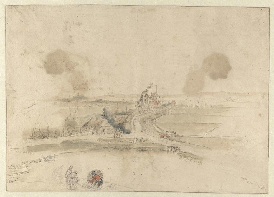 Vlak landschap met huizen en twee molens langs een weg