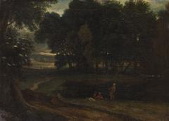 Waldlandschaft mit Badenden