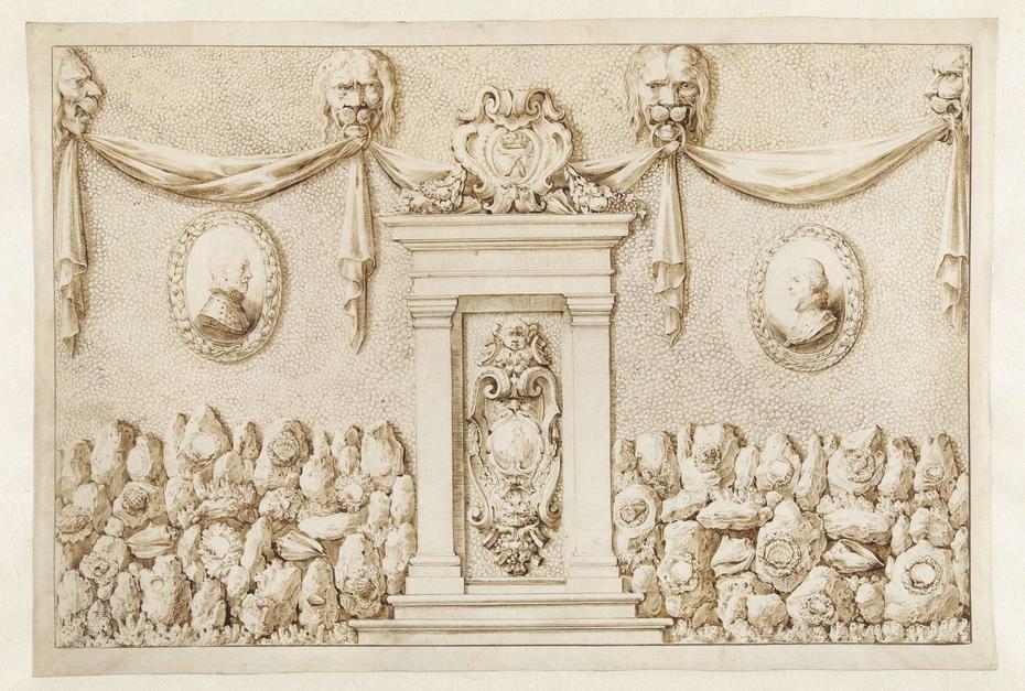 Wand van een schelpenkabinet