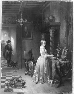 Weiß gekleidetes Mädchen bei der Toilette (Nachahmer)