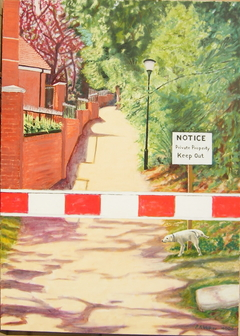 'Welcome to Esher' (2006), 140 x 100 cm, Oil on Linen.