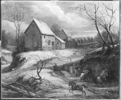 Winterlandschaft mit kämpfenden Reitern (Nachahmer)