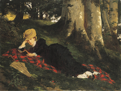 Woman Reading in a Forest