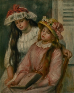 Young Girls Looking at an Album