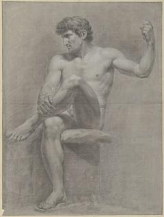 Zittend mannelijk naakt, het linkerbeen op de rechterknie