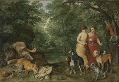 Zwei Nymphen mit Jagdhunden mit Hendrik van Balen