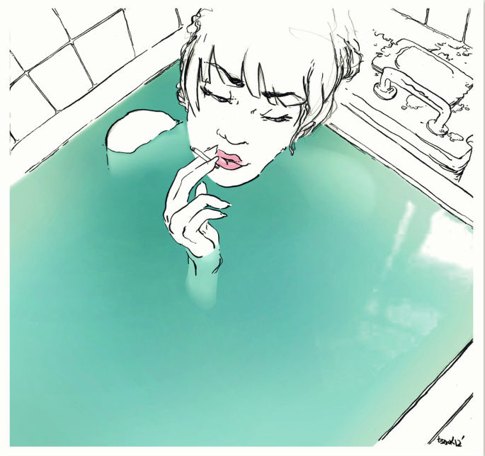a bathtub filled to the brim with water, and a girl