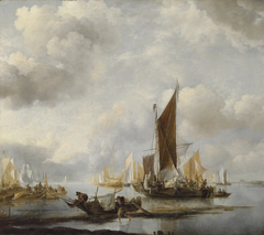 A calm sea with ships near the shore
