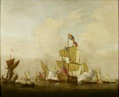 A Calm with a Royal Yacht Firing a Salute