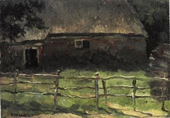 A farmhouse behind a fence