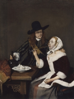 A Gentleman pressing a Lady to drink