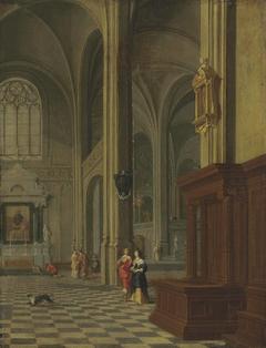 A gothic church interior with elegant figures