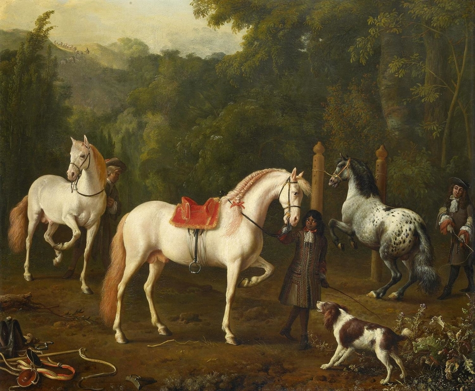 A Groom Assisting a Riding Master at the Manège
