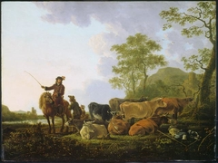 A Herd of Cows with a Herdsman and a Rider