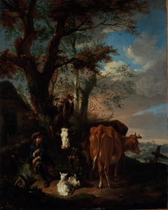 A Herdsman with Cattle and Sheep