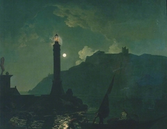 A Moonlight with a Lighthouse, Coast of Tuscany