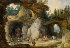 A Mountainous Landscape with Pilgrims at a Chapel in a Grotto