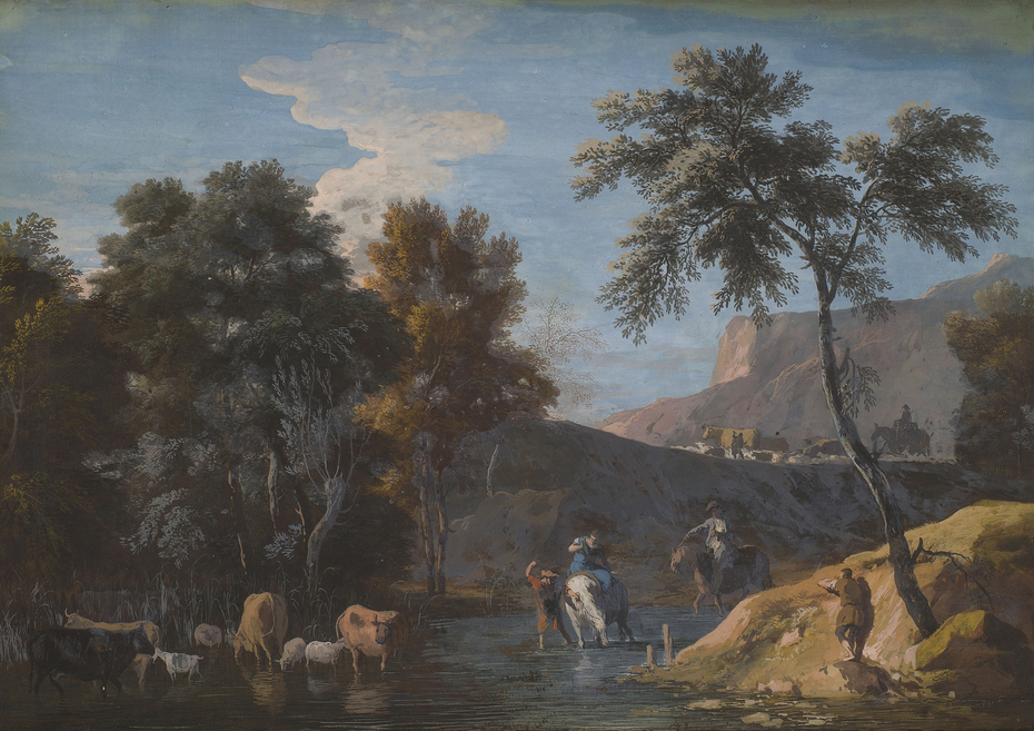 A Rocky Landscape with Herds Watering