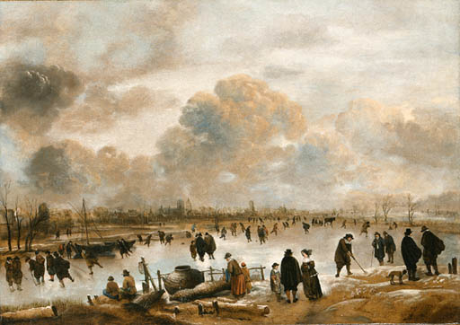 A Winter Landscape with Skaters and Townsfolk on a Frozen Waterway