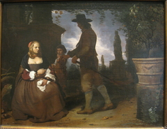 A Young Couple and a Boy in a Garden