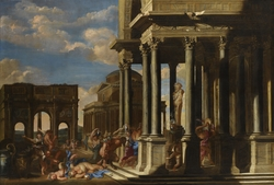 An Architectural Capriccio with a Bacchanalian Procession.