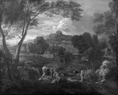 An Italian Landscape with the Baptism of Christ