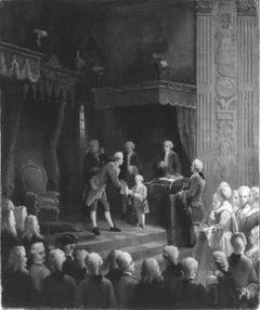 Anno 1752. De verheffing van prins Willem V tot ridder in de orde van de Kousenband