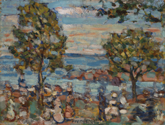 Beach Scene with Two Trees