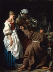 Brother Luce, the Hermit, with the Widow and her Daughter