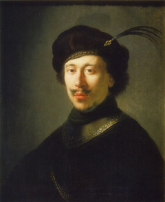 Bust of young man in gorget and plumed cap
