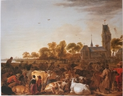 Cattle Market before a Church