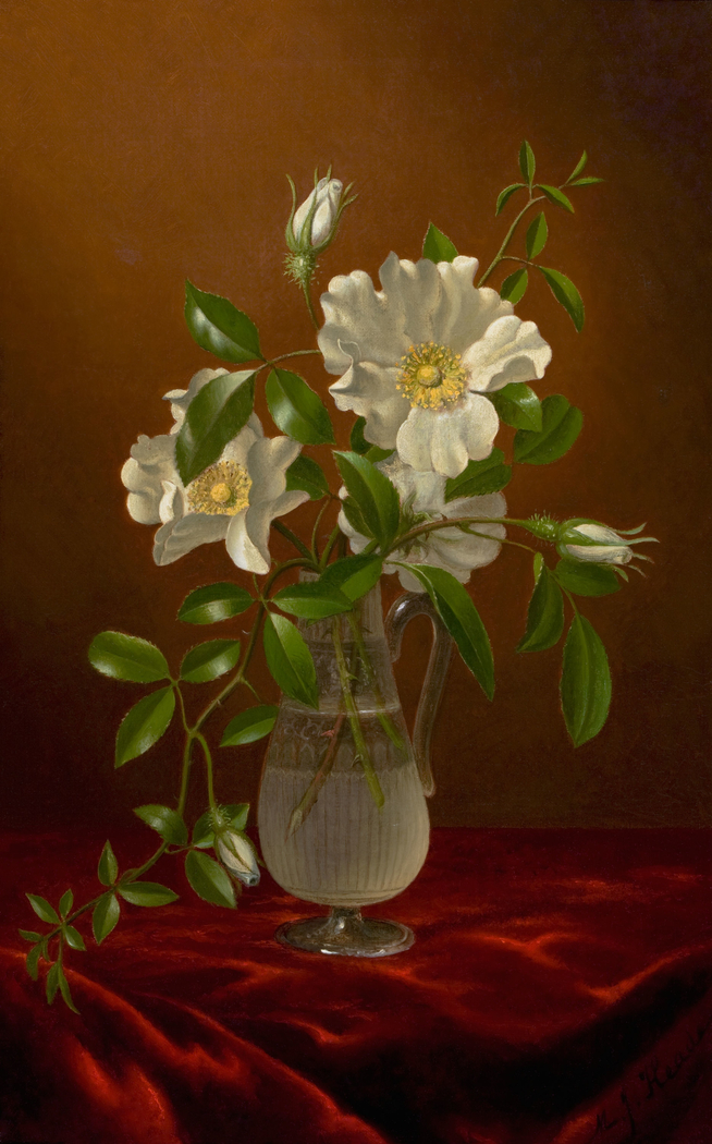 Cherokee Roses in a Glass Vase