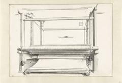 De lakenfabricage: een weefgetouw en enkele losse onderdelen