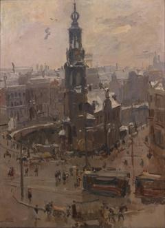 De Munttoren in Amsterdam, dooiweer