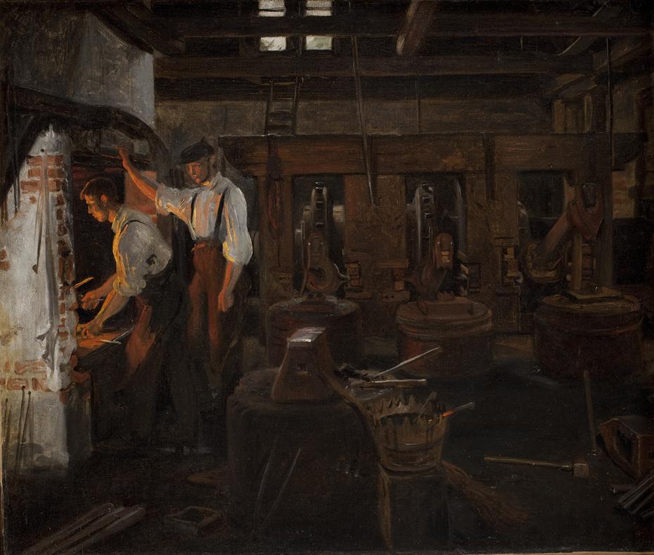 Det indvendige af den gamle hammermølle ved Hellebæk