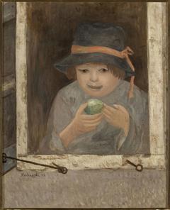Dziewczyna z jabłkiem w oknie