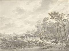 Een leger trekt door een dorp