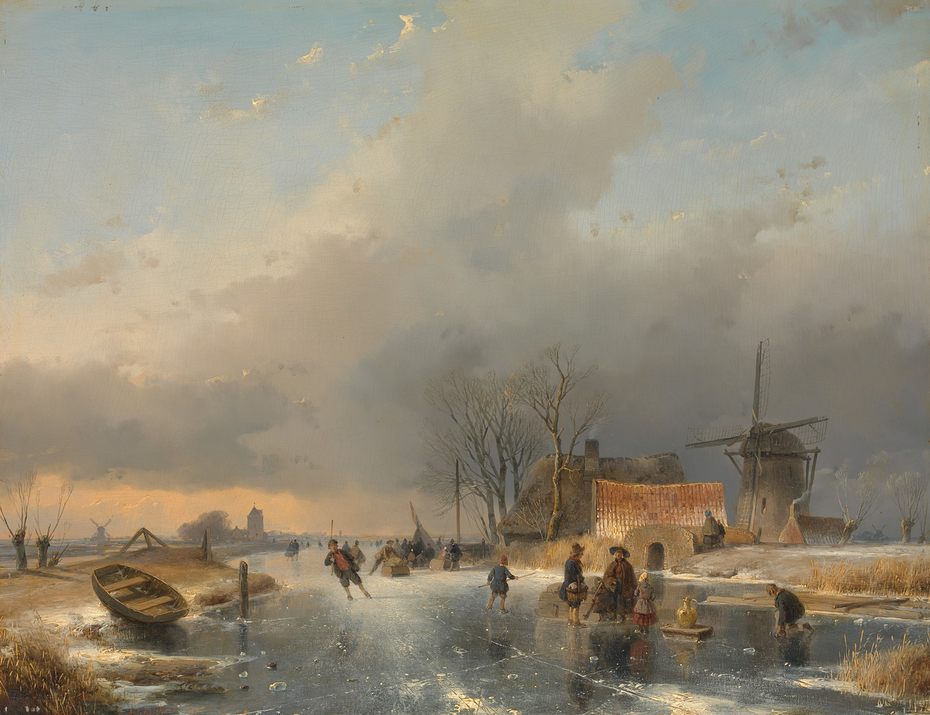Een winterlandschap, rechts een molen en woningen bij een bevroren vaart