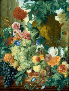 Fruit and Flowers in front of a Garden Vase with an Opium Poppy and a Row of Cypresses