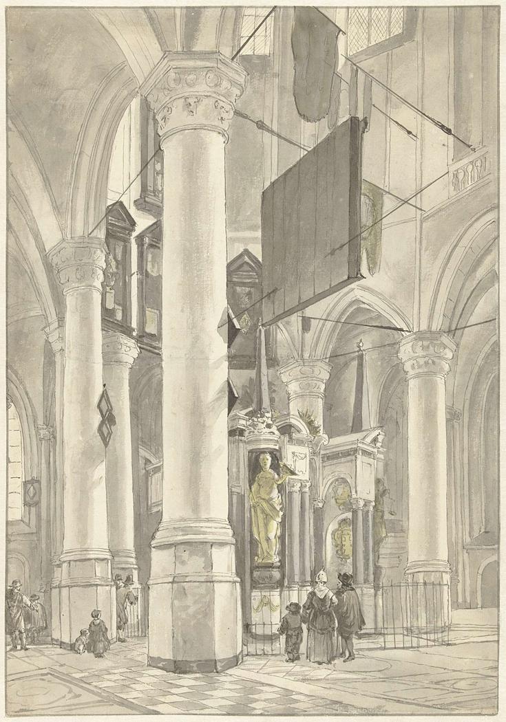 Gezicht in de Nieuwe kerk te Delft, met het grafmonument van Willem van Oranje