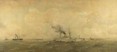 Gezicht op de pieren bij IJmuiden naar het oosten